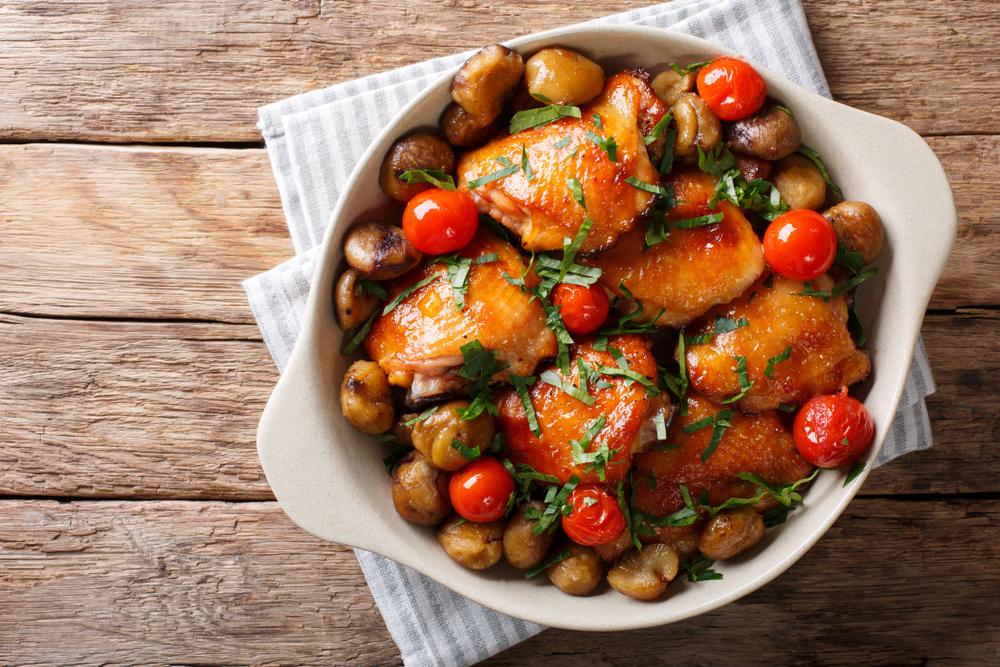 Poulet facile à la tomate et aux châtaignes - Des recettes ...