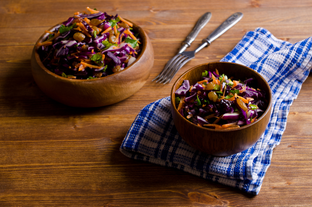 Salade colorée au chou-rouge et carottes
