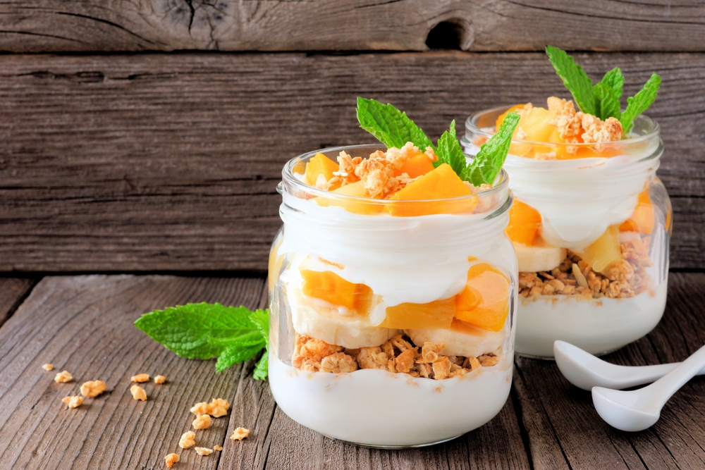 Yaourt healthy granola mangue banane