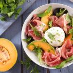 Salade healthy melon, jambon et burrata